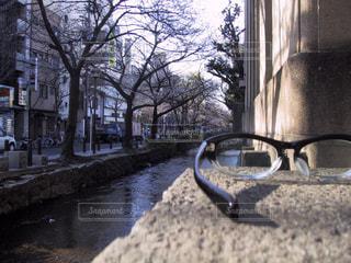 ファッション,自然,風景,アクセサリー,屋外,京都,水,川,景色,眼鏡,メガネ