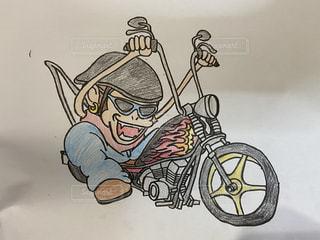 バイク,アート,ペン,ハーレー,紙,車両,おえかき,モンキー,漫画,おうち時間