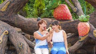 いちごを食べさせ合うラブラブカップルの写真・画像素材[3149524]