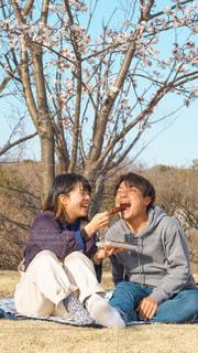 公園でレジャーシートに座ってみたらしを食べる男女の写真・画像素材[3262736]