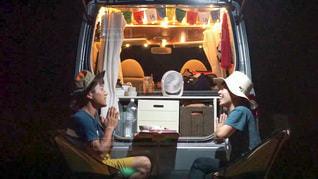 夜のキャンプ飯を頂きますの写真・画像素材[3529022]