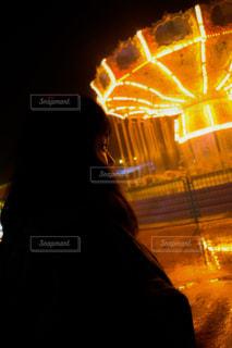 夜の遊園地の写真・画像素材[3251777]