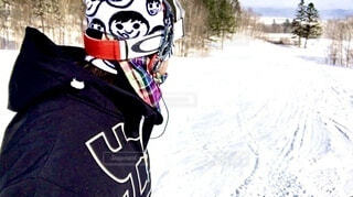 冬,自撮り,雪,屋外,人,運動,スノーボード,ウィンタースポーツ