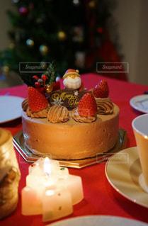 冬,ケーキ,ろうそく,クリスマス,テーブルフォト,クリスマスケーキ