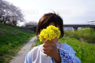 花を持っている子供の写真・画像素材[1219946]