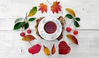 秋のティータイムの写真・画像素材[3903359]