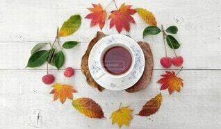 秋のティータイムの写真・画像素材[3903408]