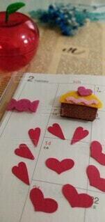 バレンタインデーとカップケーキの写真・画像素材[4003841]