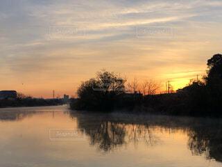 自然,風景,空,屋外,太陽,朝日,雲,川,水面,池,景色,反射,夜明け,樹木,正月,朝,横浜,お正月,日の出,新年,初日の出