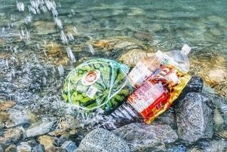 川の水で冷やしているスイカの写真・画像素材[3497777]