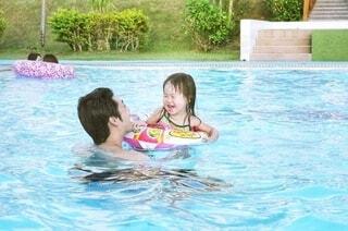 プールの中の小さな女の子の写真・画像素材[3616310]