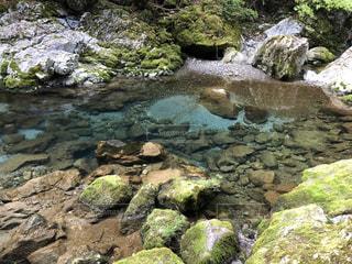 青く透き通る静かな川の写真・画像素材[3638698]