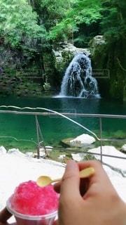 滝を眺めながらリフレッシュ♡の写真・画像素材[3413060]