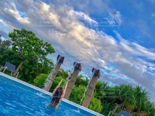 プールで泳いでいたら飛行機が通ったので撮影しましたの写真・画像素材[3281547]