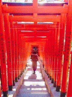 伏見稲荷大社を背景にした椅子の列の写真・画像素材[3840926]