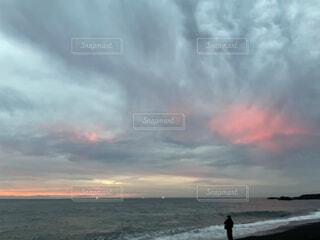 自然,風景,海,空,屋外,朝日,ビーチ,雲,水面,海岸,正月,お正月,日の出,新年,初日の出,三保の松原