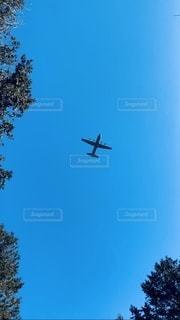 澄んだ青空で飛んでいる飛行機の写真・画像素材[3321602]