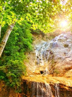 ドライブで見つけた森の中の滝の写真・画像素材[4452675]