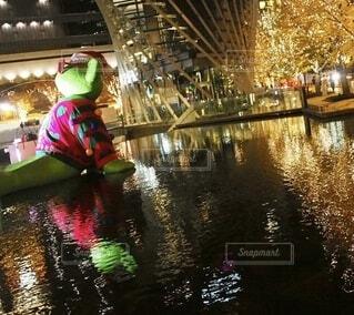 夜,水面,イルミネーション,クリスマス,グランフロント,シャンパンゴールド,グランフロントクリスマス