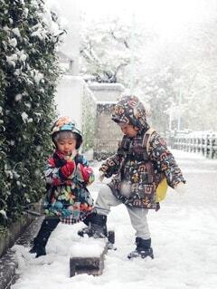 初めての雪体験の写真・画像素材[3961847]