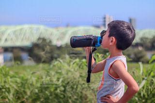 川沿いをランニングの写真・画像素材[3448148]