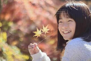キラキラの紅葉とキラキラの笑顔の写真・画像素材[3698905]