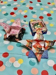 折り紙の箱折ってみたの写真・画像素材[3386469]