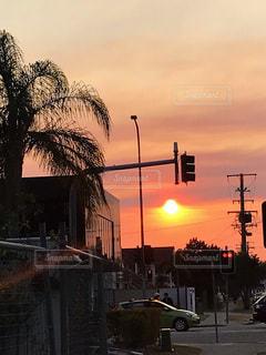 海外の街中の景色 信号と夕日の写真・画像素材[3396053]