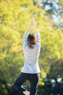 夏の公園でヨガをやる女性の写真・画像素材[4842586]