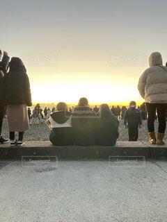 風景,空,屋外,朝日,人,正月,お正月,日の出,新年,初日の出