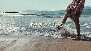 女性,海,空,夏,屋外,砂浜,レトロ,フィルム,懐かしい,思い出,夏の思い出