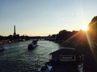 空,夕日,観光,旅行,フランス,パリ,エッフェル塔,セーヌ川,ゆか写