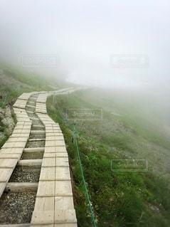 夏山、霧の登山道と雪の写真・画像素材[3511867]