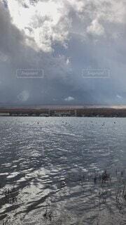 自然,風景,空,秋,富士山,屋外,湖,ビーチ,雲,青空,船,水面,山,景色,雄大,ハイキング,群れ,くもり,湖畔,山中湖,水鳥,日中