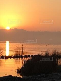 空,屋外,湖,太陽,朝日,雲,きれい,水,波,影,光,美しい,正月,朝,寒い,お正月,渡り鳥,日の出,早朝,オレンジ色,新年,初日の出,湖面,登る,輝き,さざ波,穏やか,美,早起き,暖色系,陽,出る