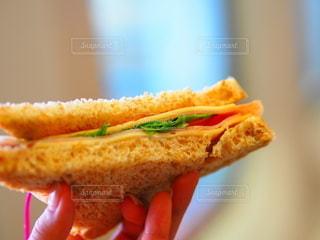 サンドイッチを持っている手のクローズアップの写真・画像素材[3489093]