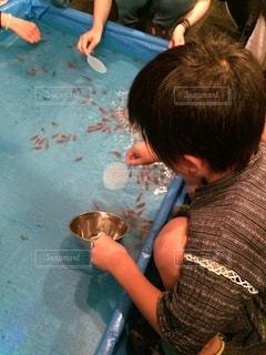 金魚すくいをする子供の写真・画像素材[3423370]