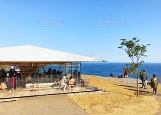 熱海の海と空を一望する絶景カフェの写真・画像素材[4098174]