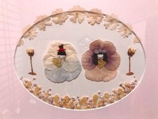 押し花で作ったお雛様の絵画の写真・画像素材[4209495]