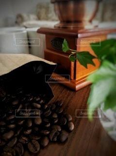 カフェ,コーヒー,屋内,緑,花瓶,テーブル,リラックス,ソファ,観葉植物,おうちカフェ,コーヒー豆,ドリンク,木目,コーヒーカップ,おうち,ライフスタイル,草木,コーヒーミル,おうち時間