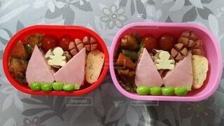 異なる種類の食品で満たされたプラスチック容器の写真・画像素材[3671531]