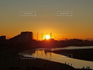 自然,風景,空,川,水面,初日の出