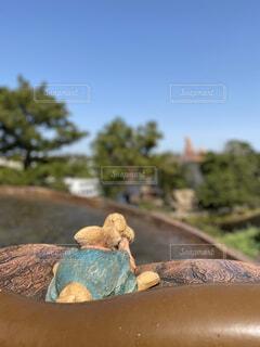 ランドのアトラクション。筏に乗って出発する1匹の可愛い兎の写真・画像素材[4435761]