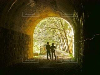 トンネル出口に見える光と樹木、男女2人と子犬のシルエットの写真・画像素材[4437714]