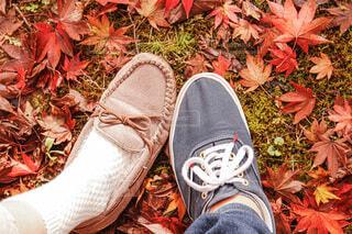 靴と紅葉の写真・画像素材[3717639]