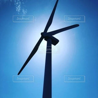 風力発電機のクローズアップの写真・画像素材[3447152]