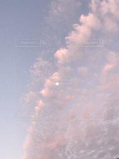 自然,風景,空,屋外,ピンク,雲,景色,朝焼け,月,朝,幸せ,桃色,朝空