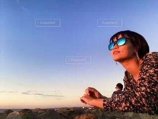 自然,空,屋外,サングラス,ビーチ,雲,人物,人,ゴーグル,メガネ,人間の顔