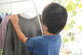 部屋干しを手伝っている男の子の写真・画像素材[4671329]