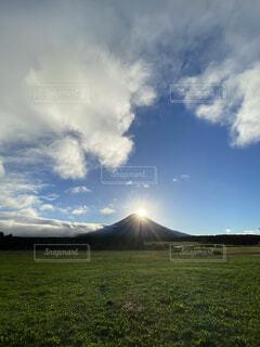 自然,風景,空,富士山,朝日,雲,山,景色,正月,お正月,日の出,高原,新年,初日の出